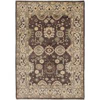 ecarpetgallery Hand-Knotted Royal Ushak Brown Wool Rug (6'3 x 9'0)