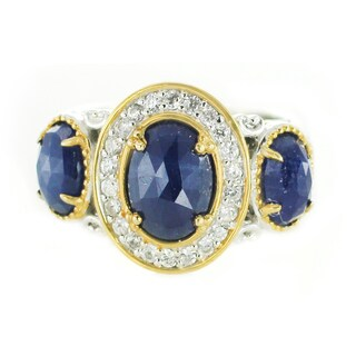 One-of-a-kind Michael Valitutti Palladium Silver Opaque Blue Sapphire and White Zircon Ring