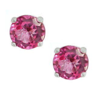 One-of-a-kind Michael Valitutti Palladium Silver Pure Pink Topaz Stud Earrings