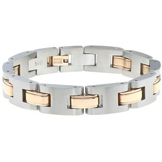 Two Tone Ion-Plated Stainless Steel Men's Link Bracelet