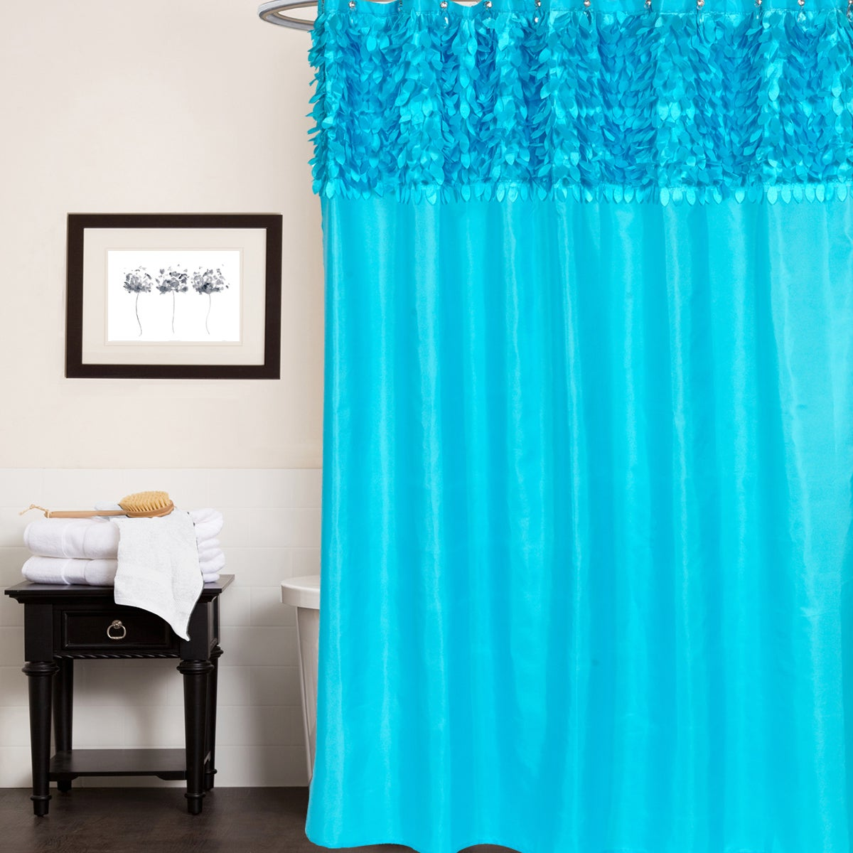 Beautiful Leaf Banded Fabric Assorted Colors Shower Curta...