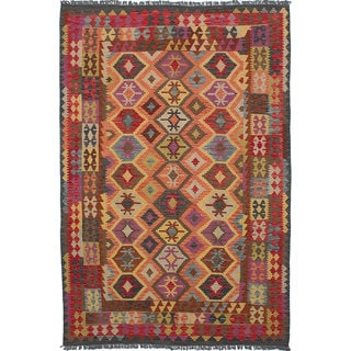 ecarpetgallery Hand-Woven Sivas Brown, Red Wool Kilim (6'6 x 10'0)