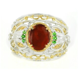 Michael Valitutti Silver Ammolite and Chrome Diopside Ring