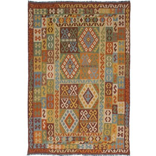 ecarpetgallery Hand-Woven Hereke Kilim Brown, Green Wool Kilim (6'8 x 9'9)
