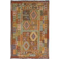 ecarpetgallery Hand-Woven Hereke Kilim Brown, Green Wool Kilim (6'8 x 9'9) - 6'8 x 9'9