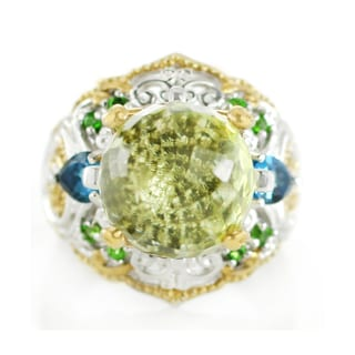 One-of-a-kind Michael Valitutti Paharaja Cut Green Quartz, London Blue Topaz and Chrome Diopside Ring