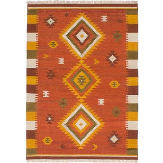 ecarpetgallery Hand-Woven Ankara Kilim Brown Wool Kilim (4'7 x 6'7)