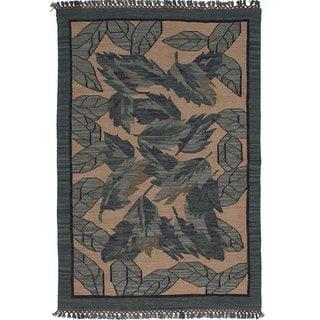 ecarpetgallery Hand-Woven Izmir Kilim Green, Ivory Wool Kilim (5'3 x 7'9)