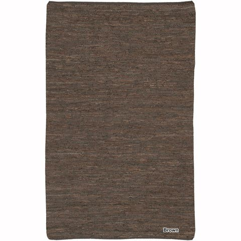 Artist's Loom Flatweave Contemporary Solid Pattern Leather Rug (2'x3')(Set of 2)