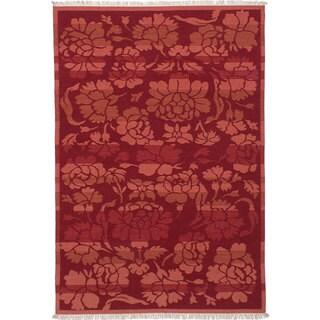 ecarpetgallery Hand-Woven Izmir Kilim Brown, Red Wool Kilim (5'4 x 7'10)