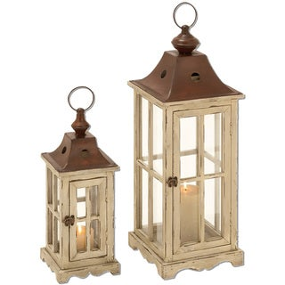Urban Designs Vintage Inspired Distressed Lantern Pillar Candle Holder - Set of 2
