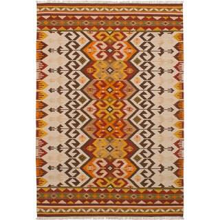 ecarpetgallery Hand-Woven Ankara Kilim Ivory, Red Wool Kilim (6'7 x 9'7)