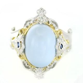 One-of-a-kind Michael Valitutti Palladium Silver Blue Opal, Blue Sapphire and White Sapphire Ring