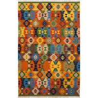 ecarpetgallery Hand-Woven Ankara Kilim Brown, Green Wool Kilim (6'4 x 9'8)