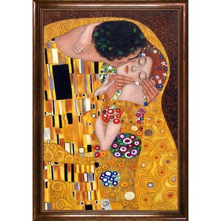 Gustav Klimt 'The Kiss' Hand Painted Framed Oil Reproduction on Canvas