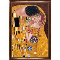Gustav Klimt 'The Kiss' Hand Painted Framed Oil Reproduction on Canvas