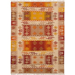 ecarpetgallery Hand-Woven Ankara Kilim Ivory, Red Wool Kilim (5'7 x 7'10)