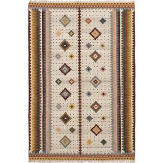 ecarpetgallery Hand-Woven Ankara Kilim Ivory Wool Kilim (6'7 x 9'10)