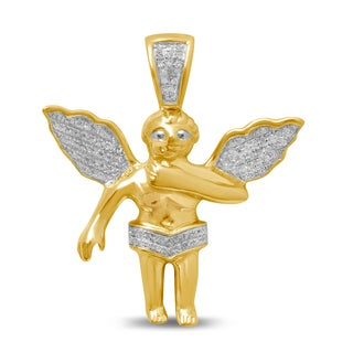 Unending Love 10k Yellow Gold Men's 1/6ct TDW Diamond Angel Charm Pendant (I-J, I2-I3)