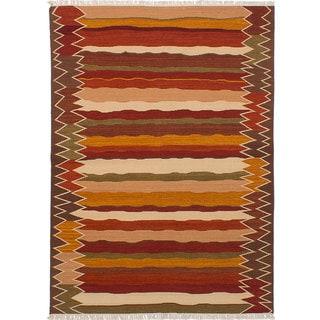ecarpetgallery Hand-Woven Ankara Kilim Brown, Red Wool Kilim (5'7 x 7'8)