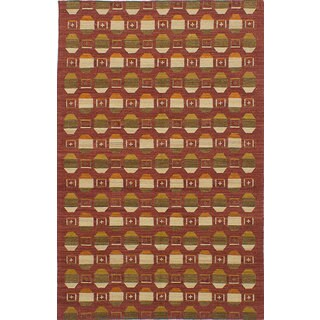 ecarpetgallery Hand-Woven Izmir Kilim Red Wool Kilim (5'1 x 7'11)