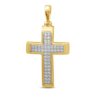 Unending Love 10k Yellow Gold Men's 1/6ct TDW Diamond Cross Pendant (I-J, I2-I3)