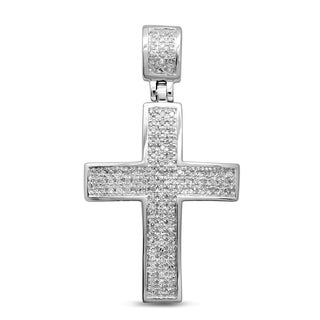Unending Love 10k White Gold 1/4ct TDW Diamond Men's Cross Pendant (I-J, I2-I3)