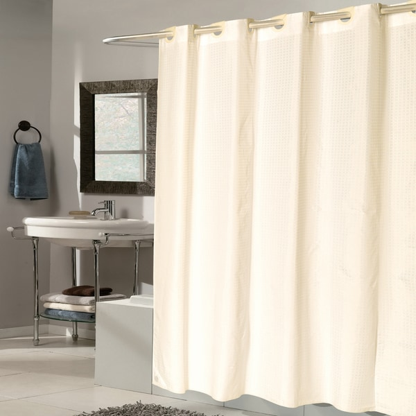 EZ On Check Fabric With Built in Hooks Ivory Shower Curtain