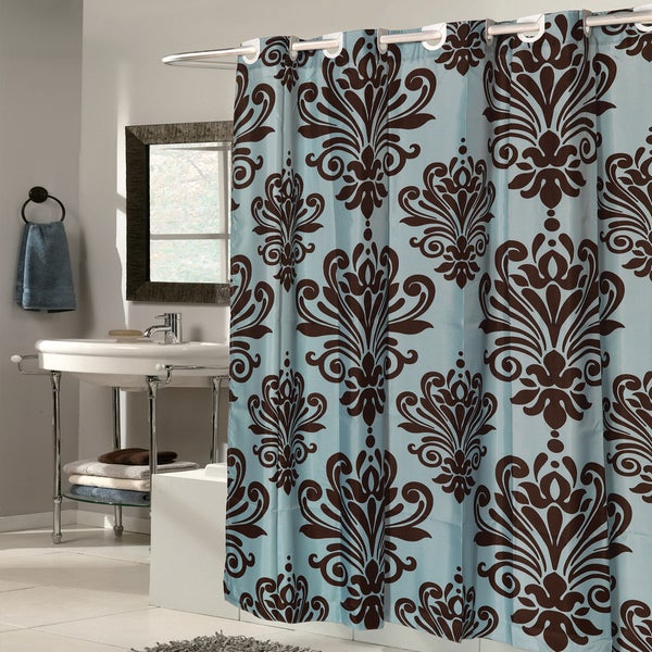 EZ On Fleur De Lis Fabric With Built In Hooks Brown Spa Blue Shower Curtain