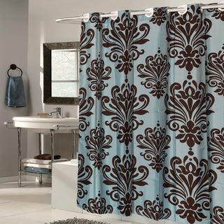 EZ On Fleur De Lis Fabric With Built In Hooks Brown/Spa Blue Shower Curtain