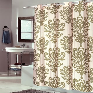 EZ On Fleur De Lis Fabric With Built in Hooks Sage Shower Curtain