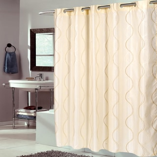 EZ On Ivory Swirl Fabric With Built in Hooks Shower Curtain