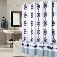 EZ On Multi Color Abstract Fabric With Built in Hooks Shower Curtain
