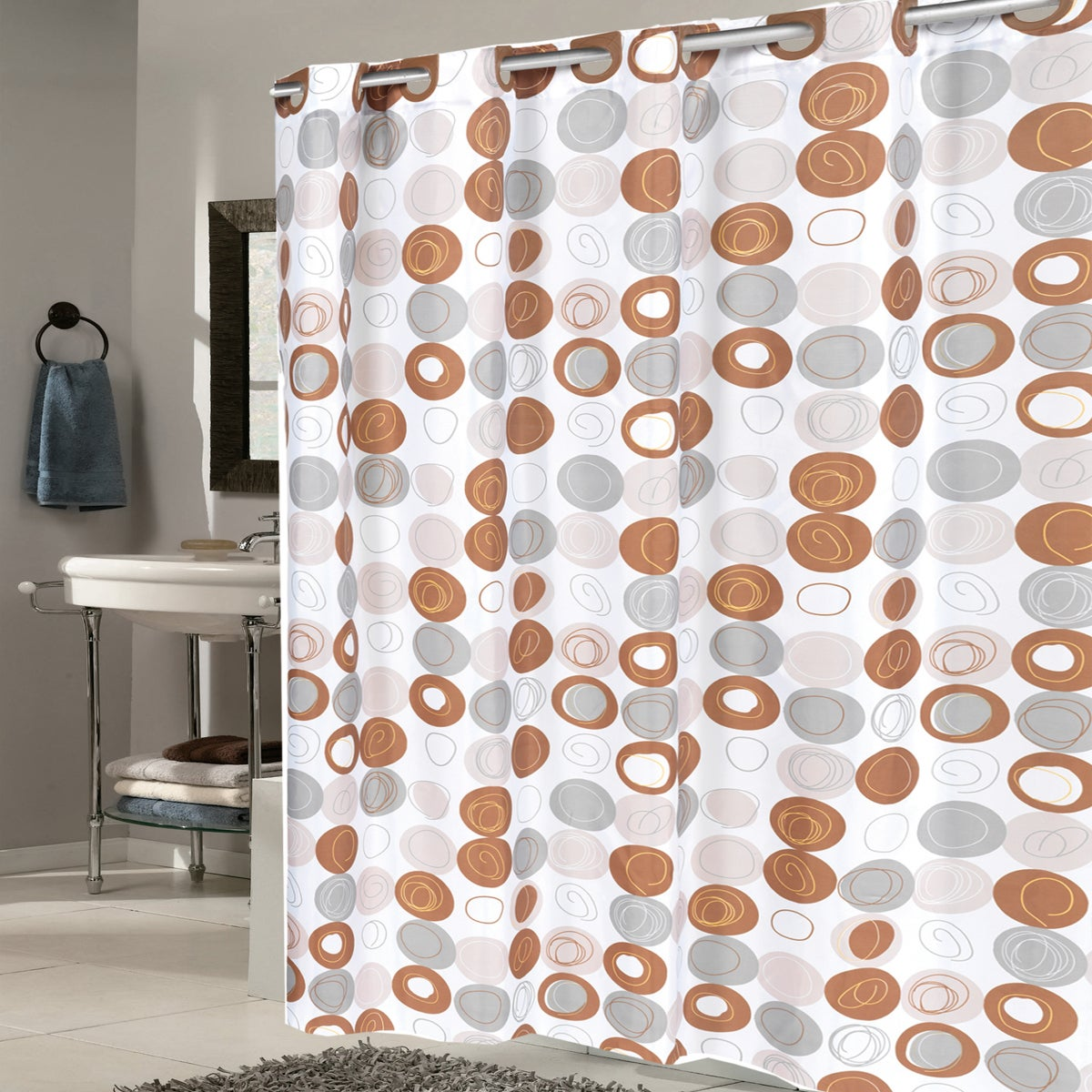 Ez On Modern Print Fabric With Built In Hooks Shower Curtain