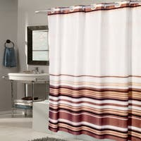 EZ On Brown Stripe Fabric With Built in Hooks Shower Curtain