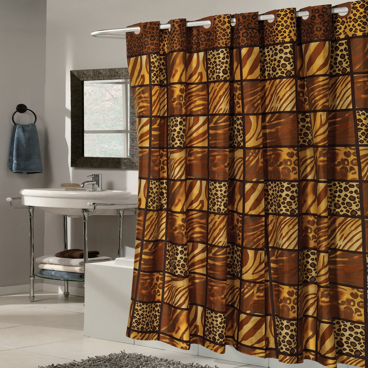 EZ On Wild Animal Print Fabric With Built in Hooks Shower...