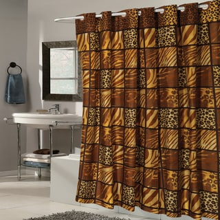 EZ On Wild Animal Print Fabric With Built in Hooks Shower Curtain