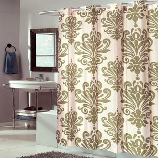 EZ On Fleur De Lis 100-percent EVA With Built in Hooks Sage/Ivory Shower Curtain