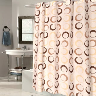 EZ On Brown Circles 100-percent EVA With Built in Hooks Shower Curtain