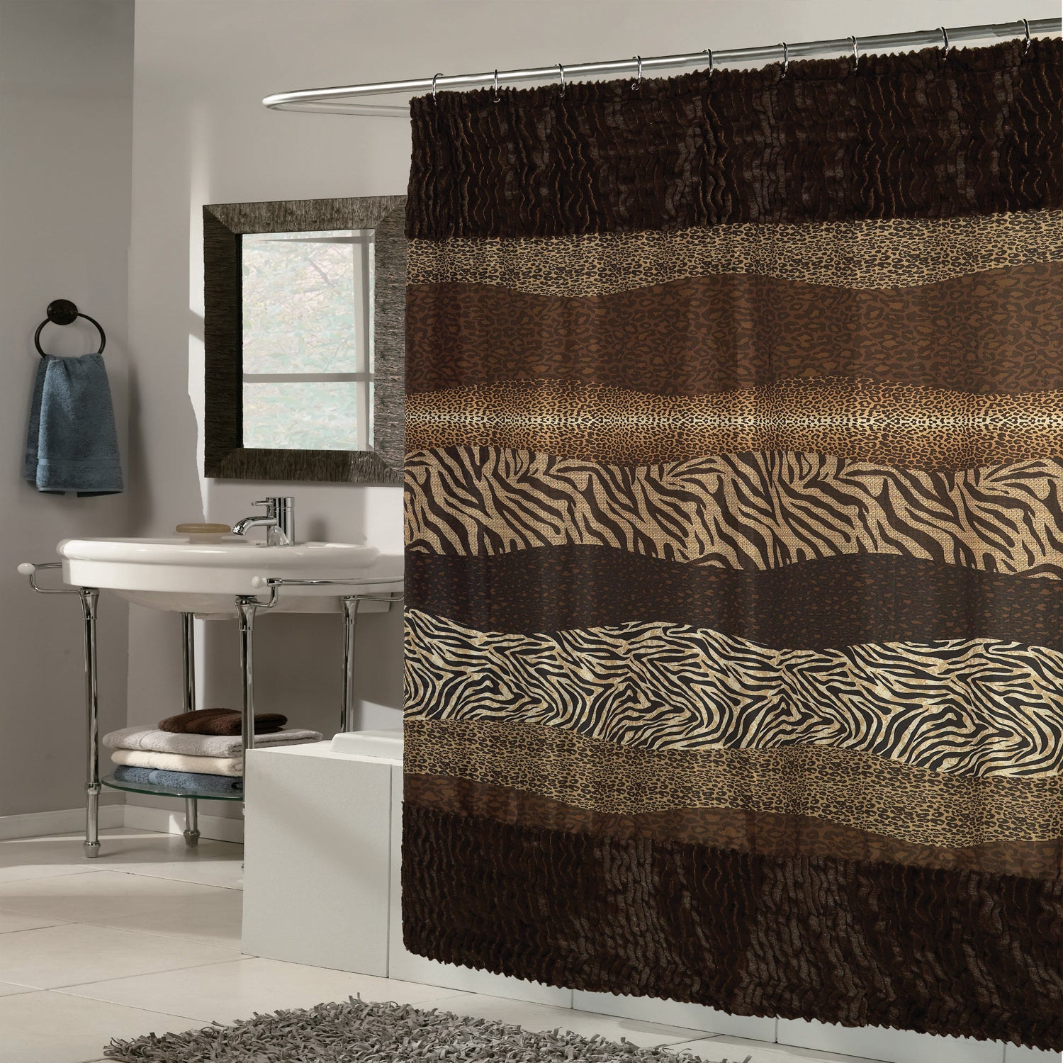 Exotic Mix Animal Print Faux Fur Trimmed Fabric Brown Sho...