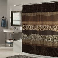 Exotic Mix Animal Print Faux Fur Trimmed Fabric Brown Shower Curtain