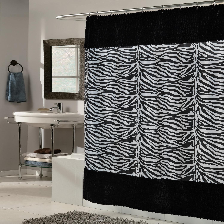Zebra Print Faux Fur Trimmed Fabric Black/White Shower Cu...
