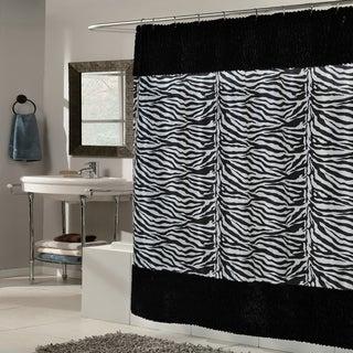 Zebra Print Faux Fur Trimmed Fabric Black/White Shower Curtain