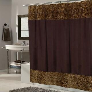 Brown Fabric With Cheetah Faux Fur Trim Shower Curtain
