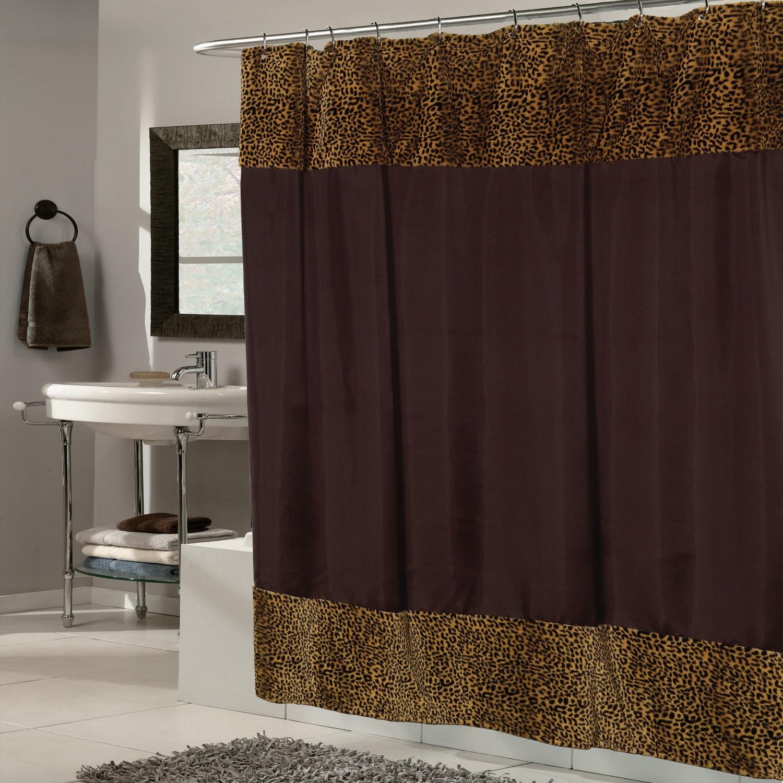 Brown Fabric With Cheetah Faux Fur Trim Shower Curtain (b...