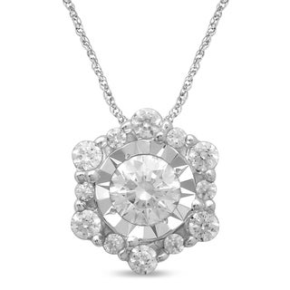 Unending Love 10k White Gold 1/3ct TDW Diamond Fashion Pendant (H-I, I1-I2)