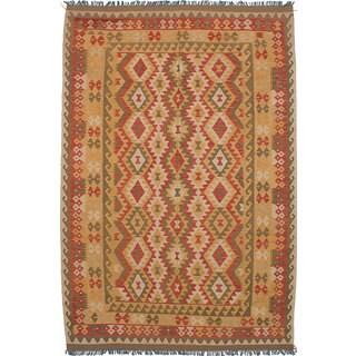 ecarpetgallery Hand-Woven Anatolian Kilim Brown, Orange Wool Kilim (6'8 x 9'9)