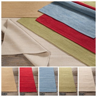 Artist's Loom Flatweave Contemporary Solid Pattern Cotton Rug (2'x3')(Set of 3)