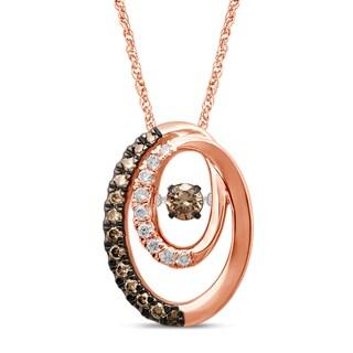 Unending Love 10k White Gold 2/5ct TDW Dancing Brown Diamond Fashion Pendant (I-J, I2-I3)