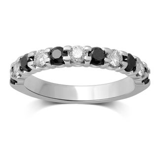 Unending Love 10k White Gold 1ct TDW Alternate White and Black Diamond Band (I-J, I1-I2)